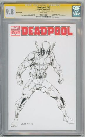Deadpool #50 Blank CGC 9.8 Signature Series Signed Marat Mychaels Sketch Marvel comic book